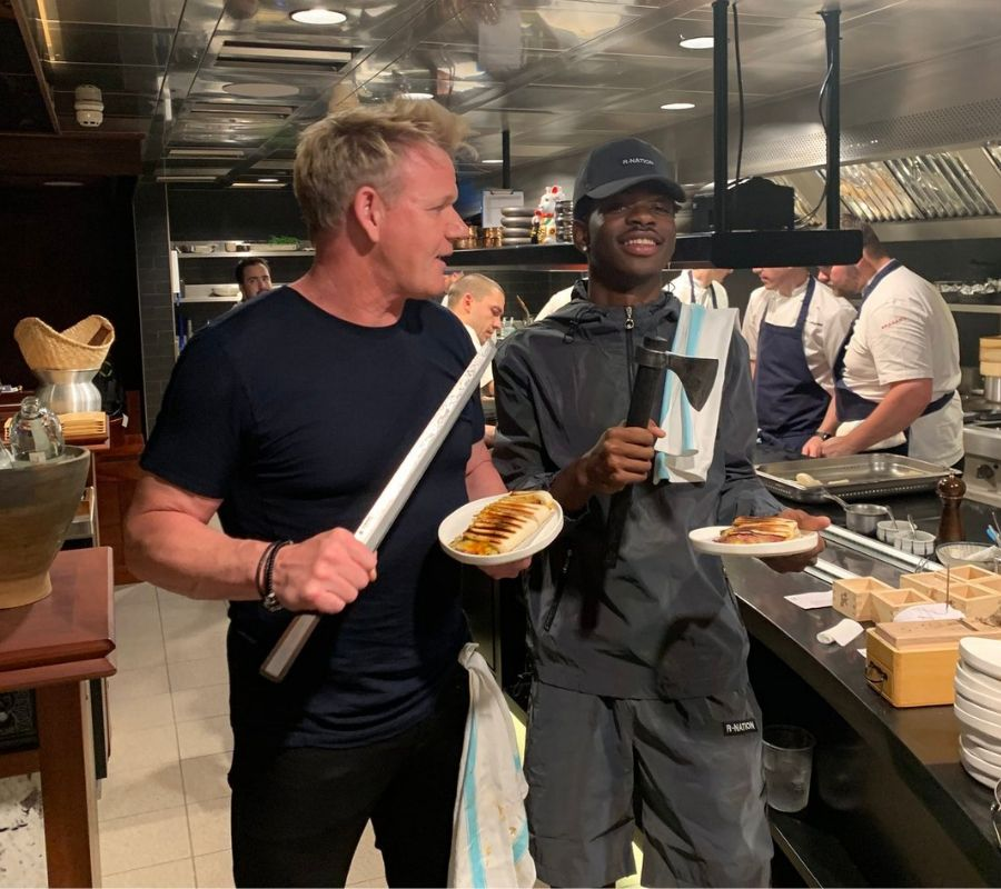 lil nas x and gordon ramsay make paninis together in a kitchen paris