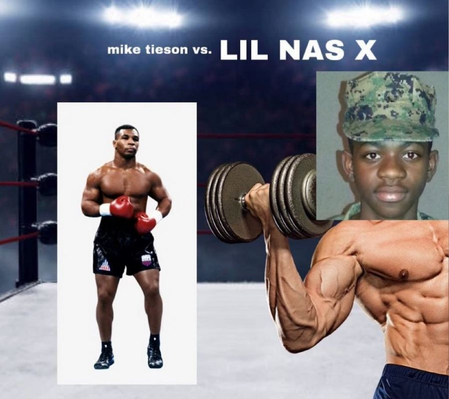 lil nas x poster to fight mike tyson hilarious photoshop