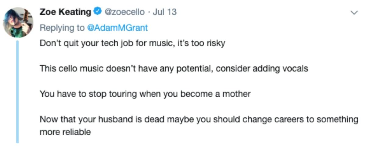 tweet about career changes from a musician