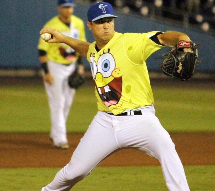 steve johnson pitching with spongebob jersey