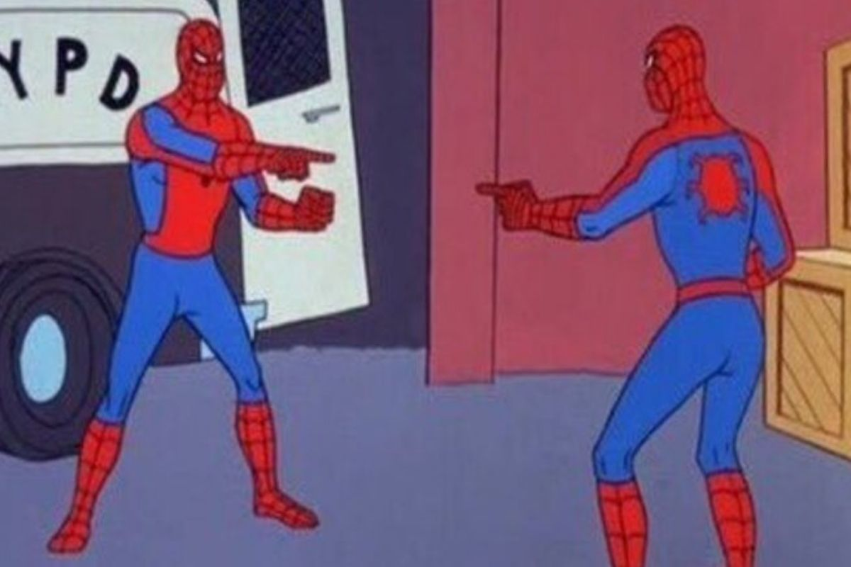 two spidermen pointing at each other meme image