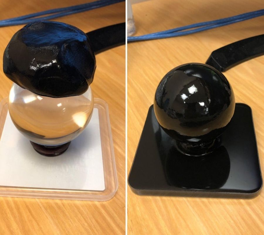 crystal ball silicone putty melted perfectly over top