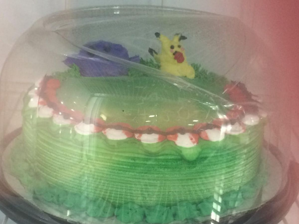 melted pikachu looking rough on a cake