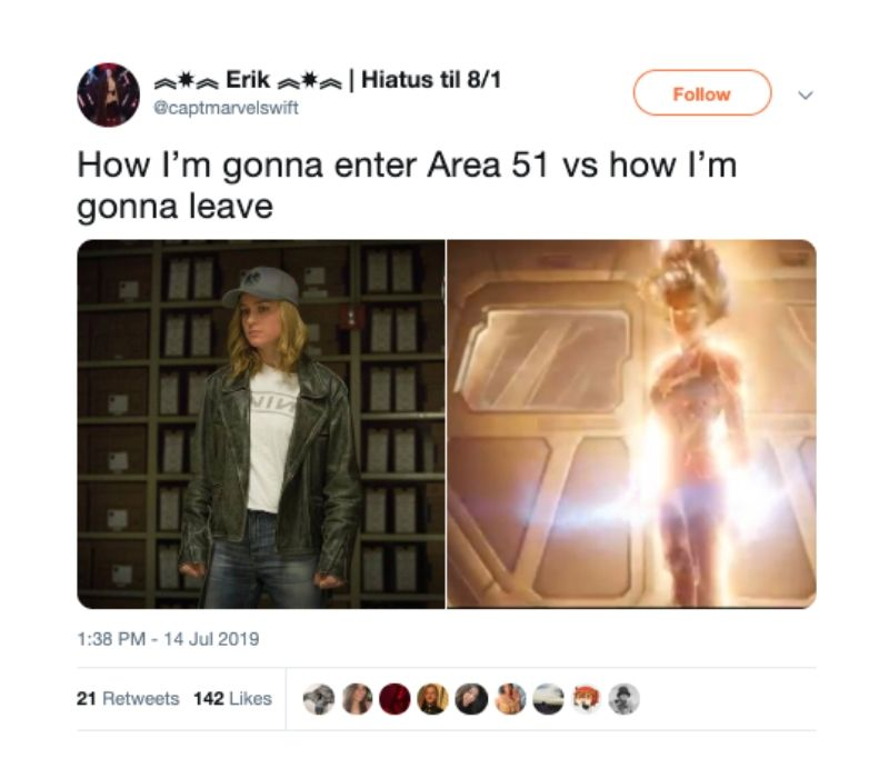 brie larson area 51 before and after tweet