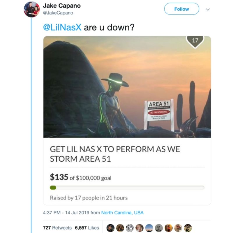 tweet to Lil Nas about performing at Area 51 with go fund me page screenshot