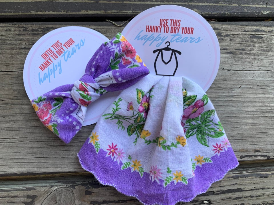 handkerchief wedding favor purple floral