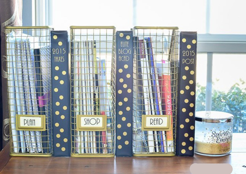 magazine boxes used for storage in dorm