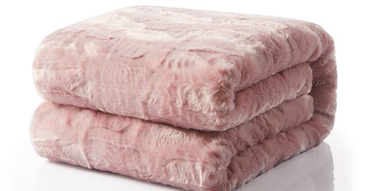 tache faux fur dusty rose pink throw blanket