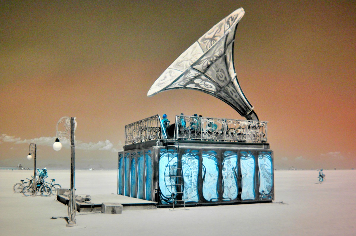 burning man record player art