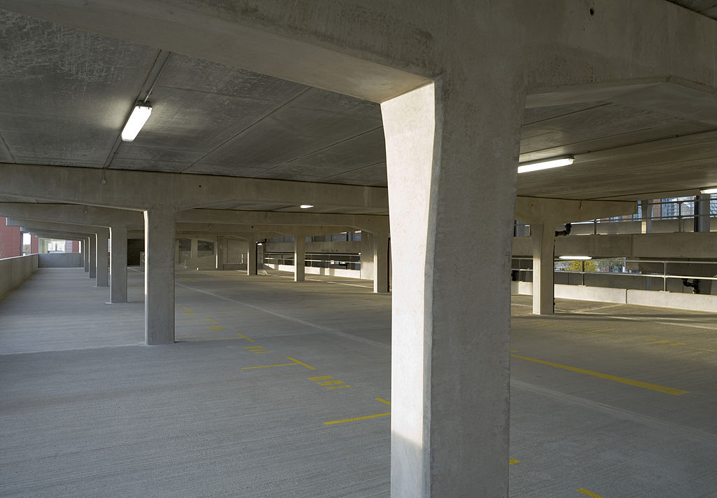 Inside a parking structure