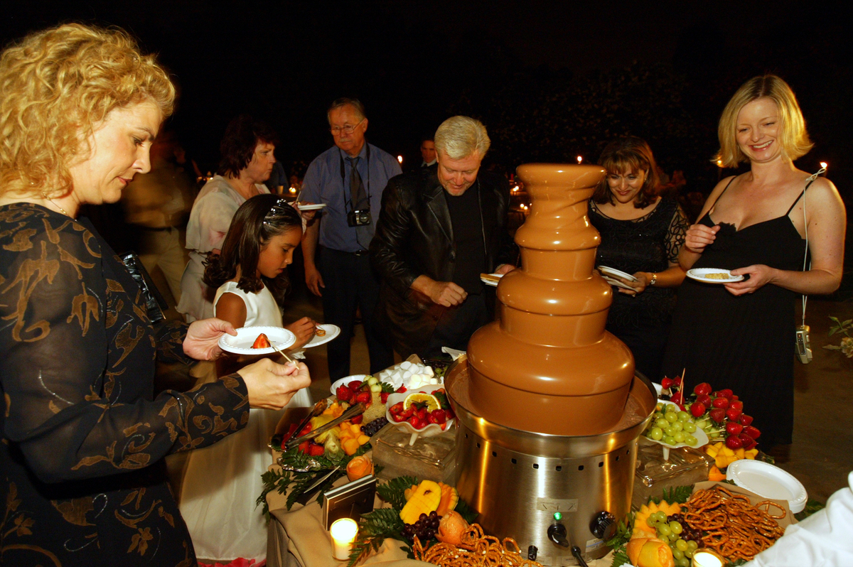 Chocolate fountain at a wedding party.