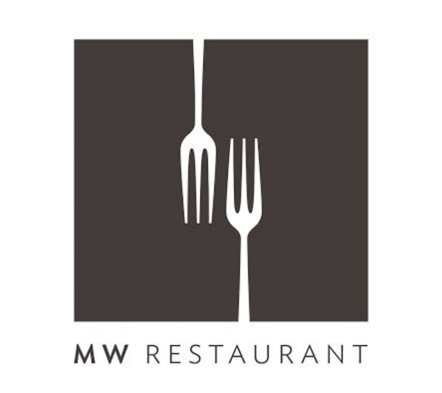 two forks spell m and w logo
