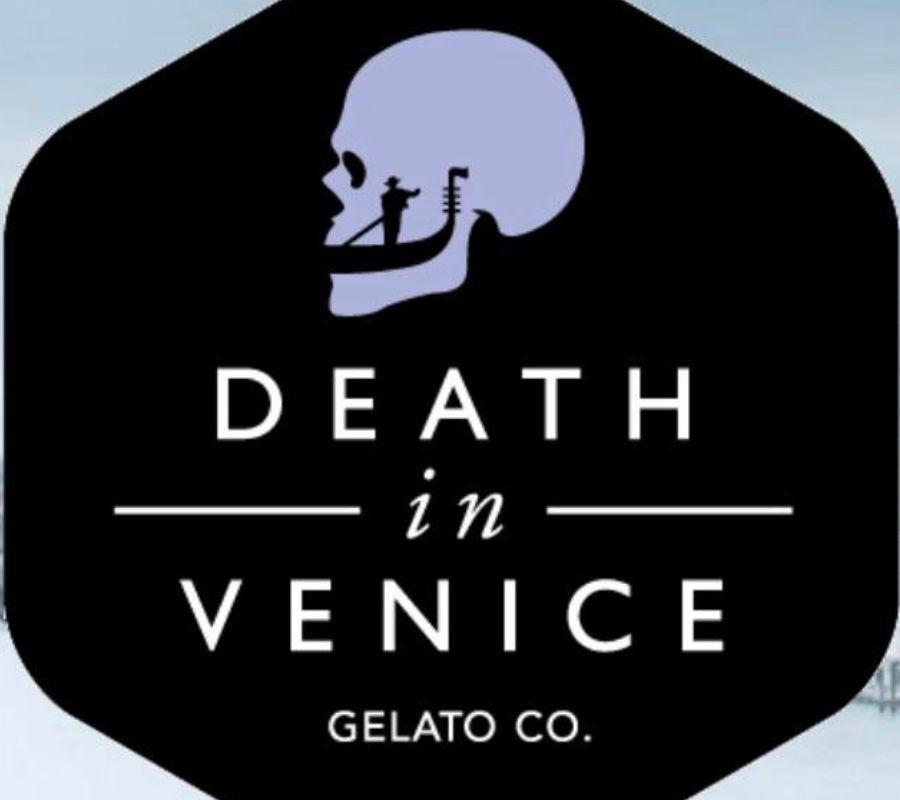 death in venice glato logo looks like gondola in skull