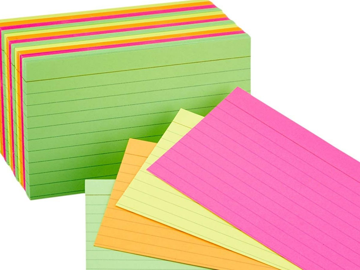 pack of multicolored flash cards