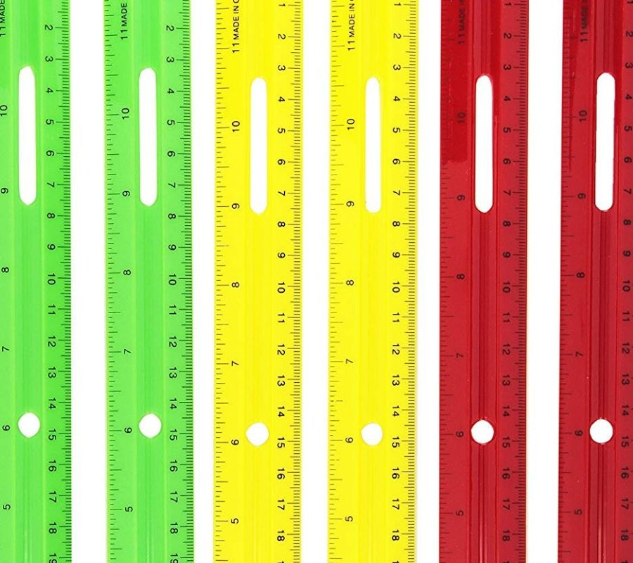 bendy plastic rulers red yellow green