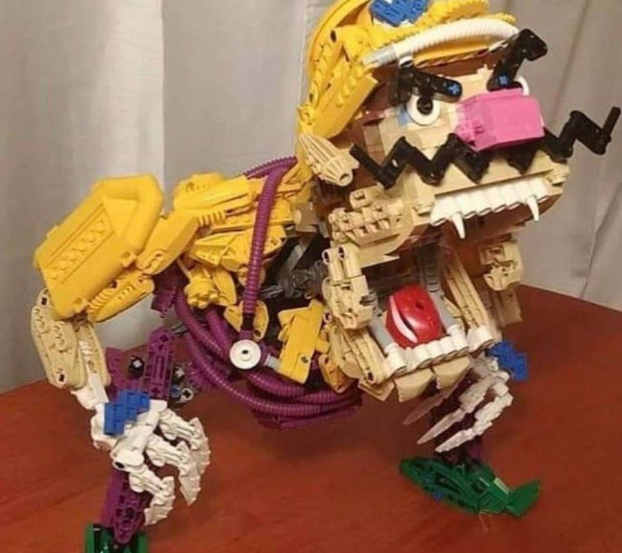 wario made of lego with fangs