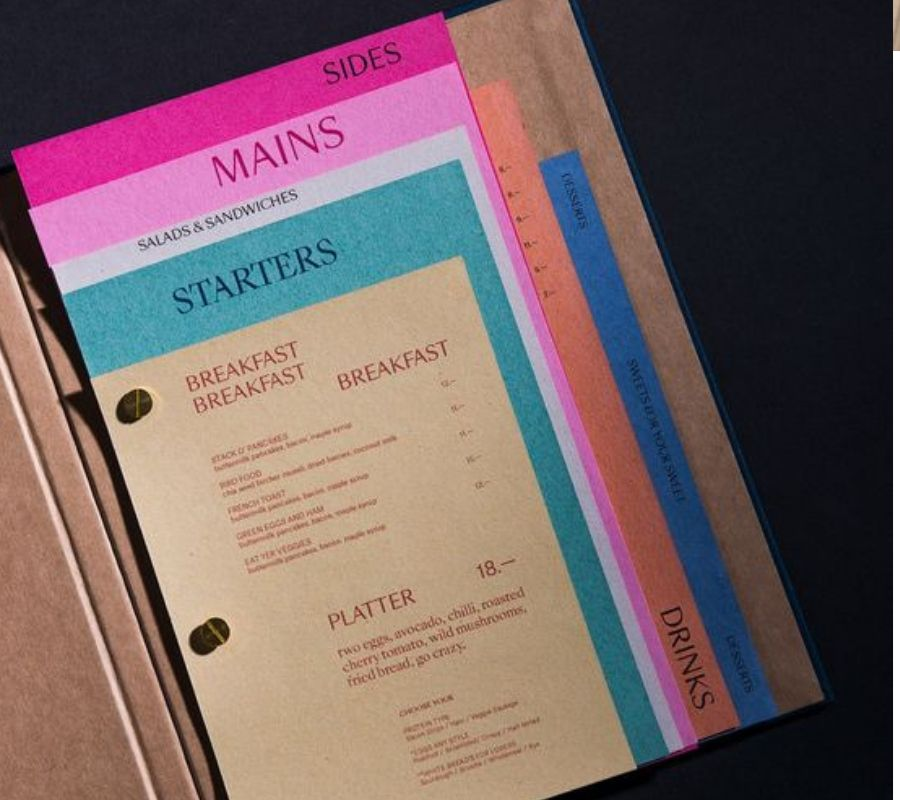 color coded menu