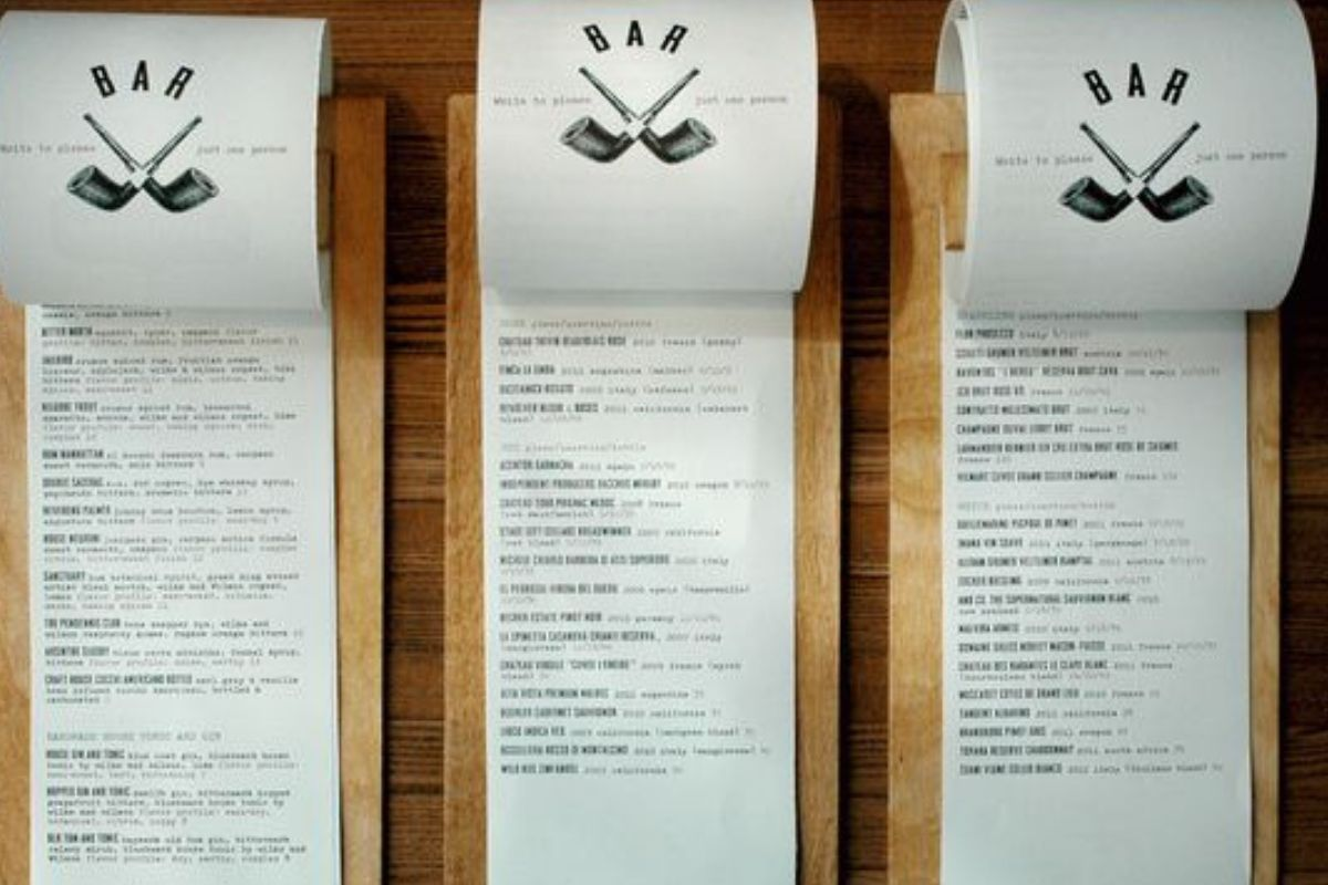 menu on a toilet paper roll