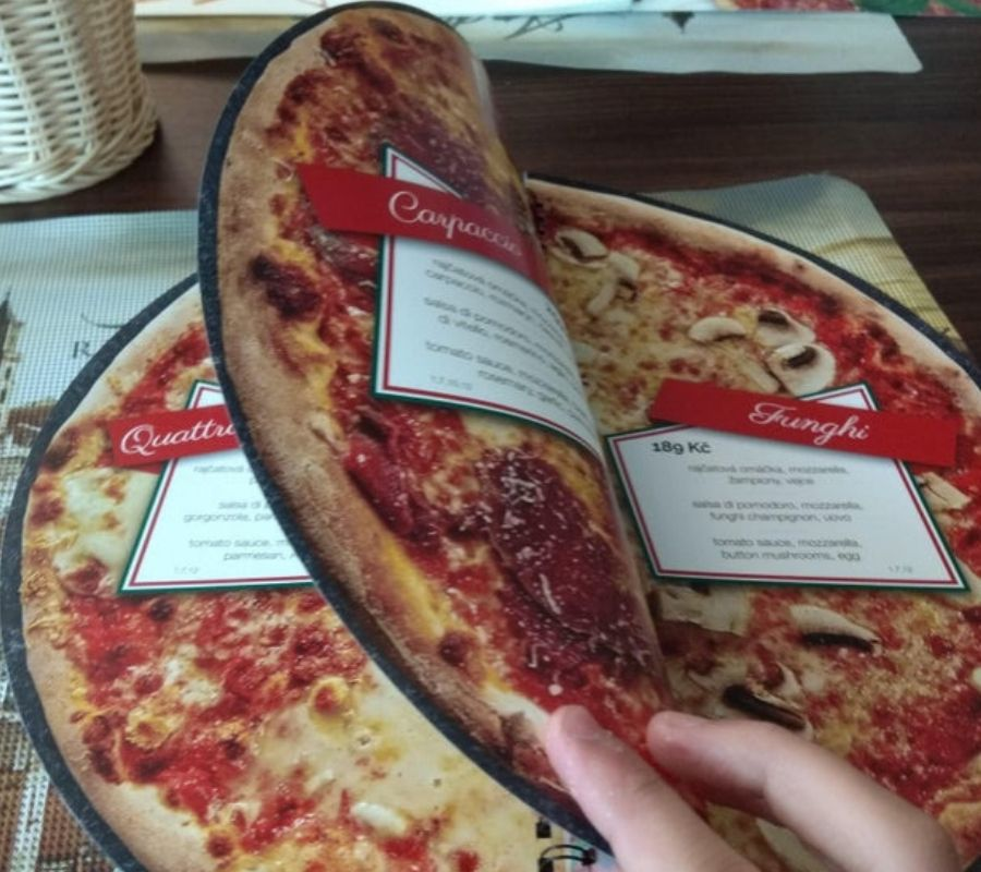pizza shaped menu