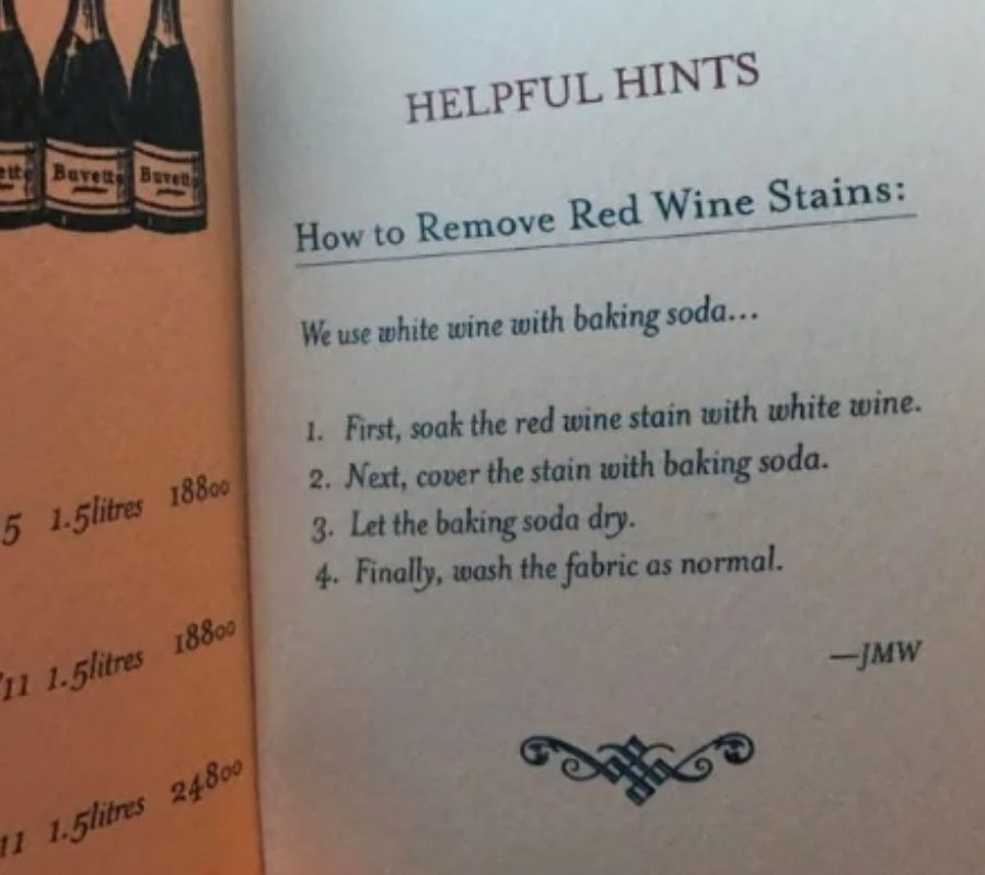 how to remove red wine stains on a shirt directions in a menu