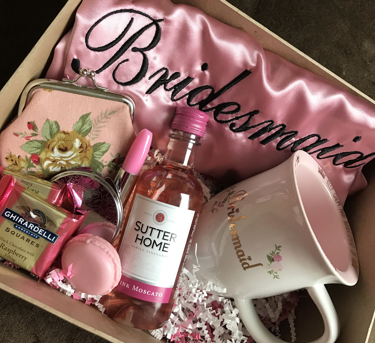 Bridesmaid proposal box with gifts for the bridesmaid