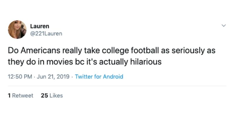 tweet about american college football