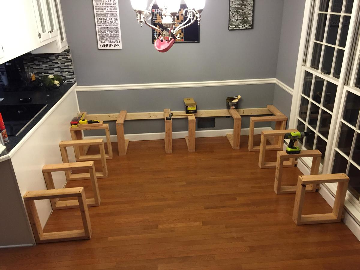 support system lining the walls of a dining room