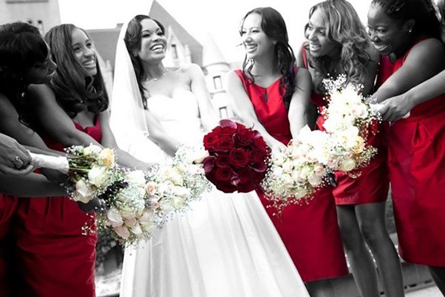 Bride with her bridesmaids with selective color photography