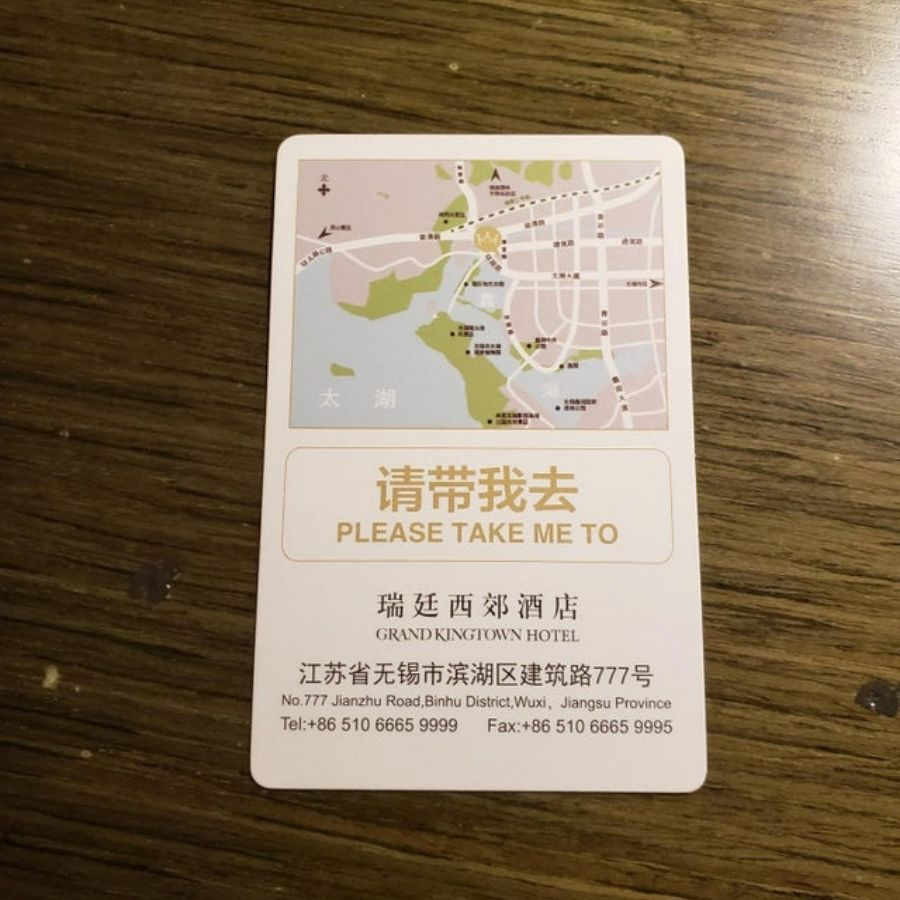 taxi card with map on it