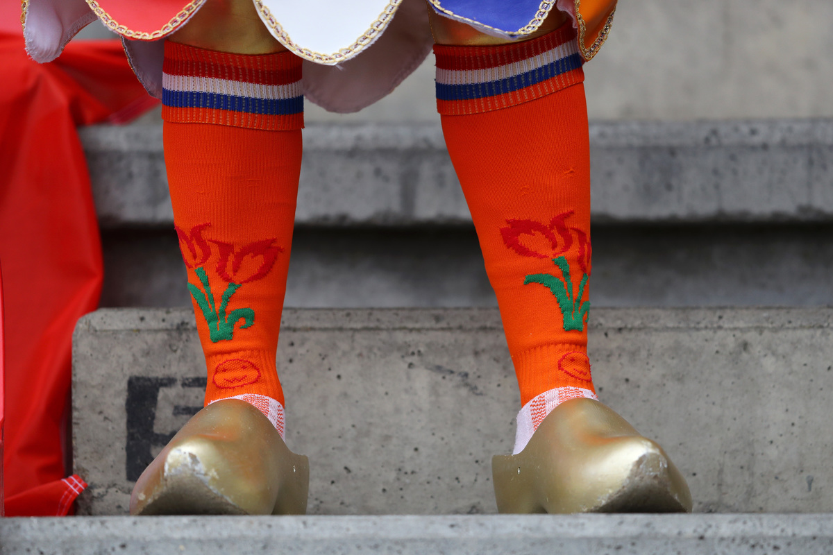 A Netherlands fan is seen wearing clogs prior to the 2019 FIFA Women's World Cup