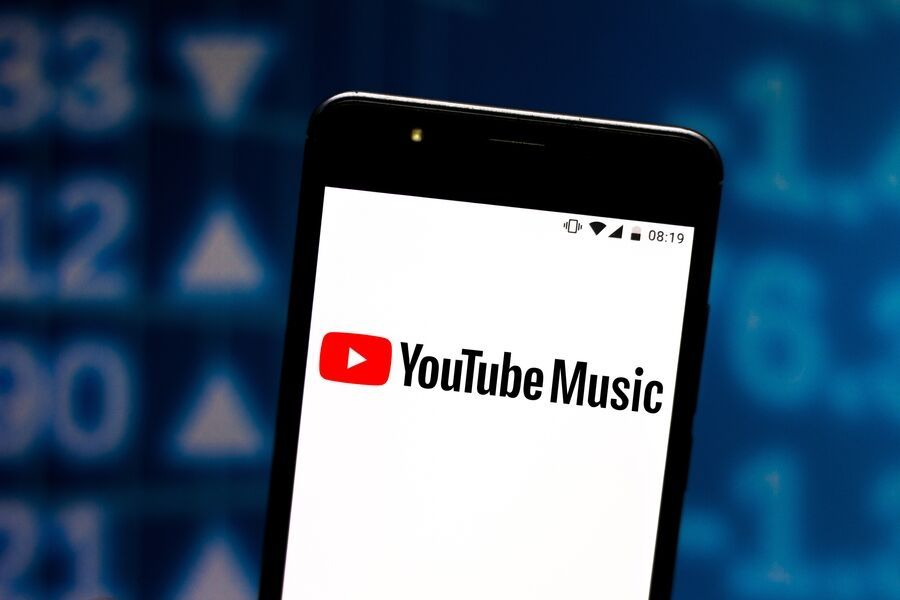 Youtube music app logo appears on a smartphone screen