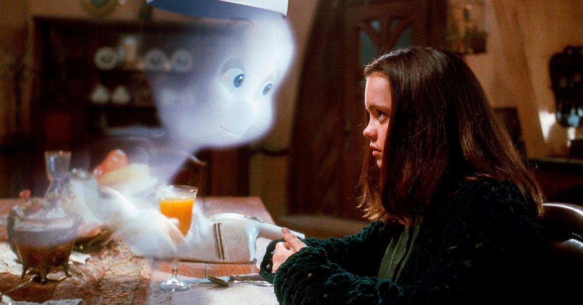 christina ricci and a cartoon casper ghost