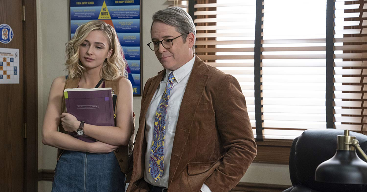 matthew broderick and sophie simnett in a classroom