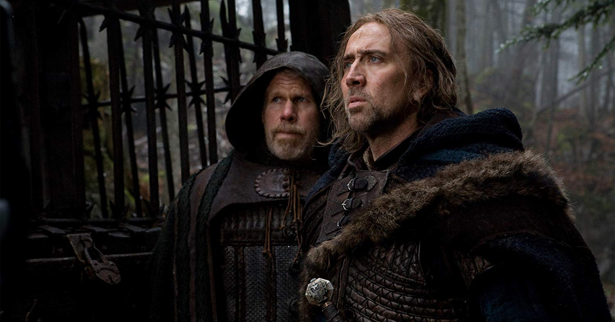 nicolas cage and ron perlman in costume for the movie