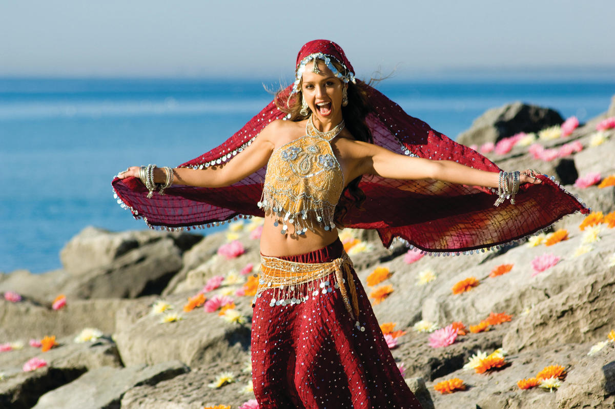 Jessica wears an Indian costume while performing in The Love Guru