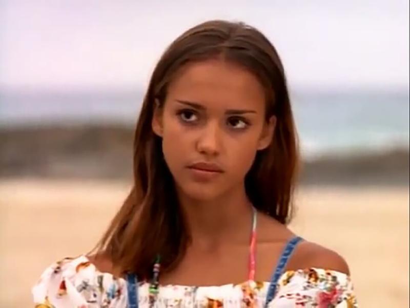 Teenage Jessica looks solemn
