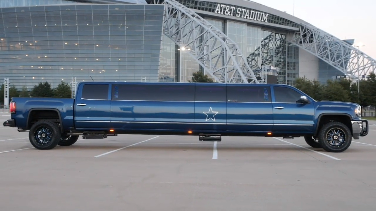 a pick up truck turned into a limo