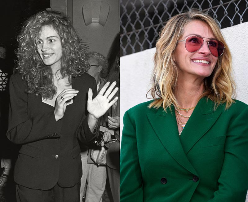 Young Julia Roberts talks at a party and older Julia smiles at an event.