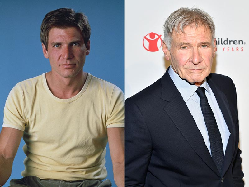 Young Harrison Ford is pictured before a blue screen alongside the older Harrison Ford in a suit.