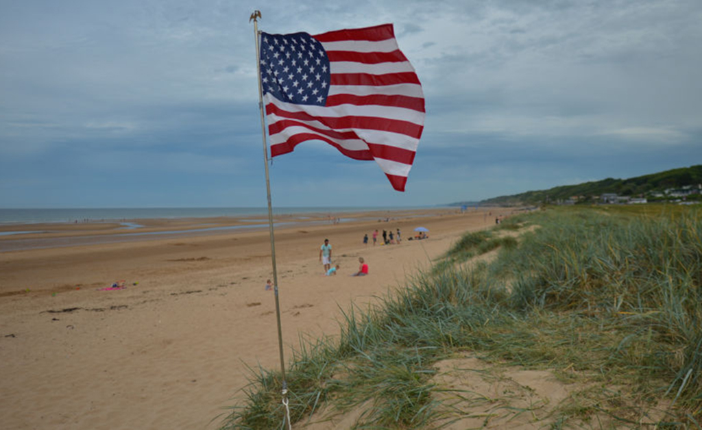 United States flag at Omaha Beach