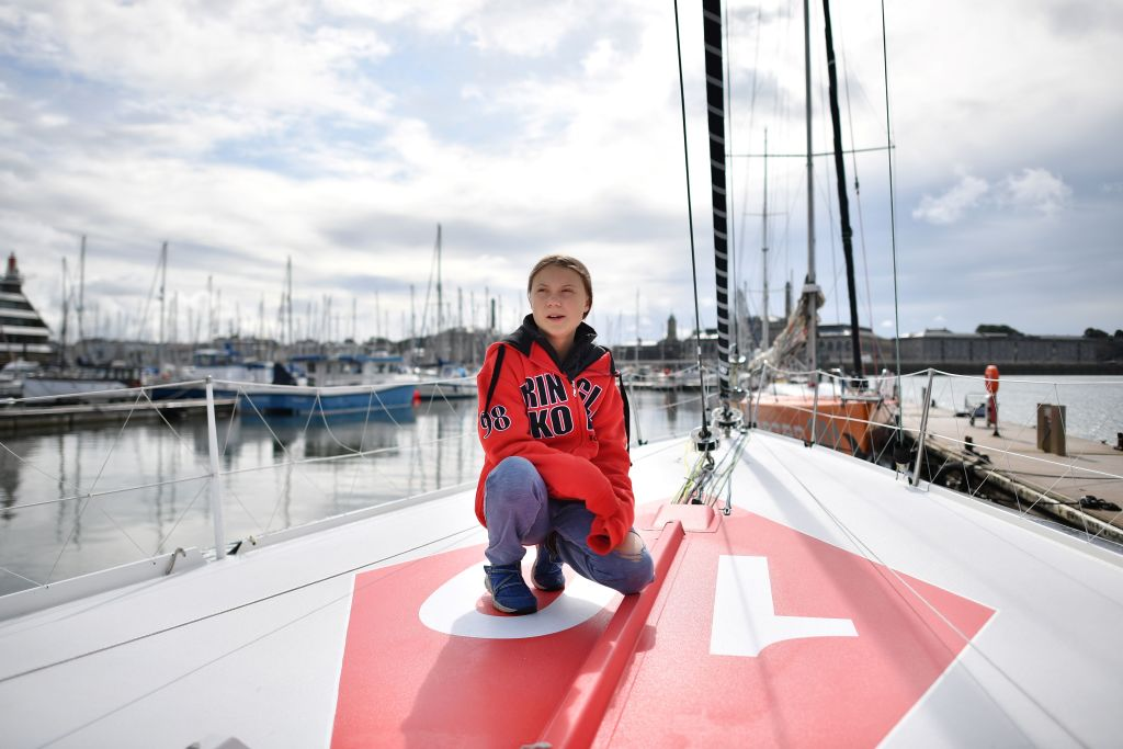 Greta takes a knee on her boat