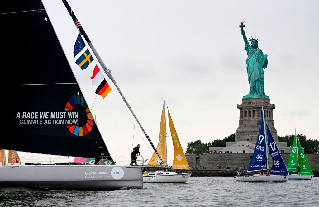 Greta sails past the Lady of Liberty