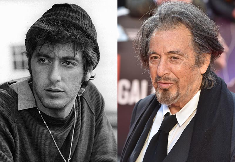 A black and white photo of young Al Pacino is beside a recent photo of him.