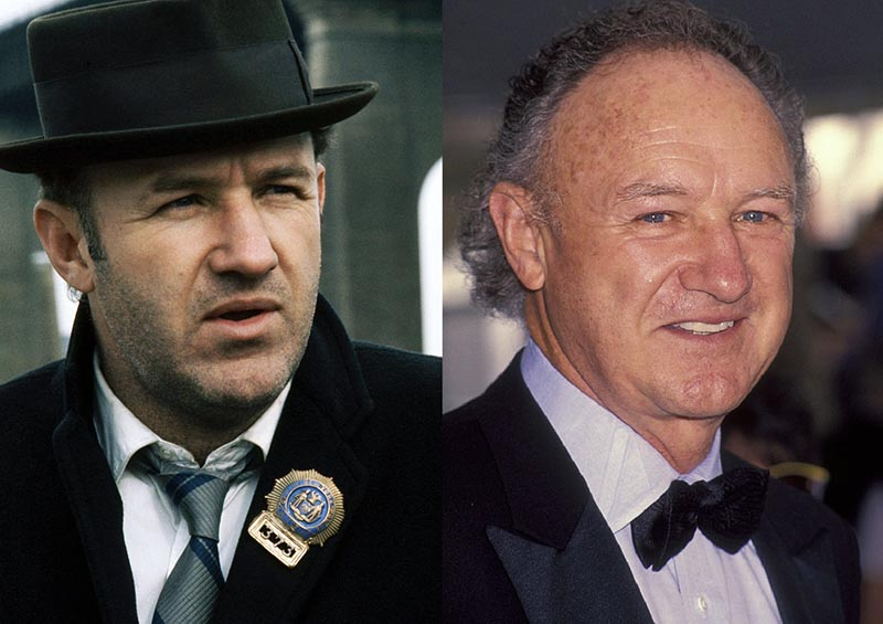 Gene Hackman is pictured in Popeye next to a recent photo of him in a tux.