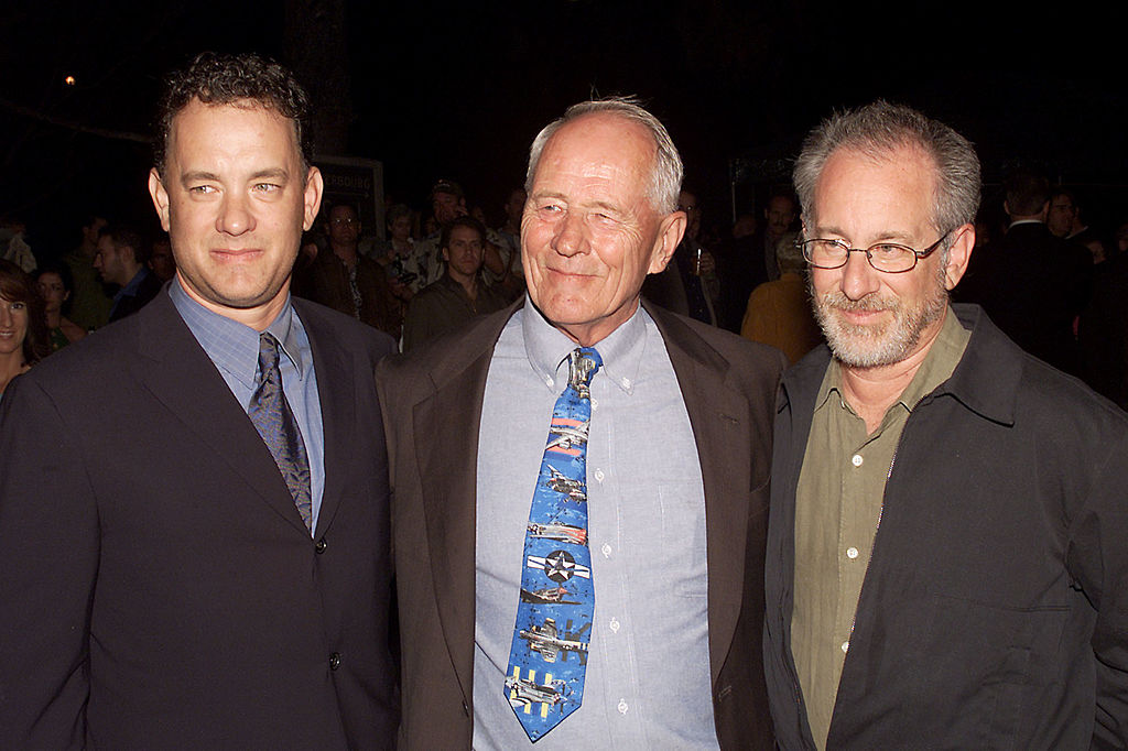 Tom Hanks, Stephen Ambrose, And Steven Spielberg at Band of Brother premier