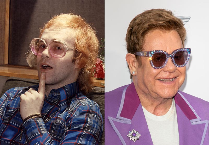Elton John wear eccentric glasses in his youth and while older.
