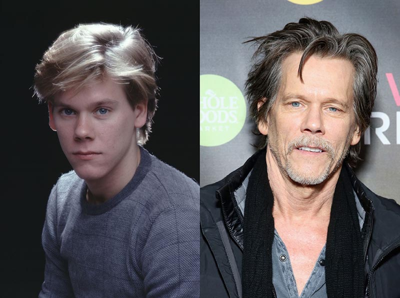 A headshot of Kevin Bacon at the start of his career is beside a recent photo of him.