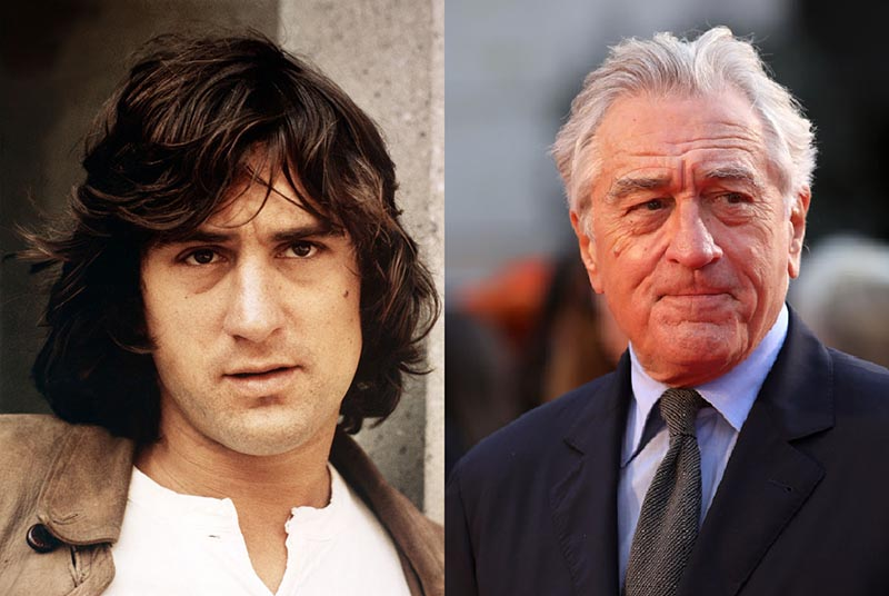 Robert De Niro wears the same straight face while young and old.