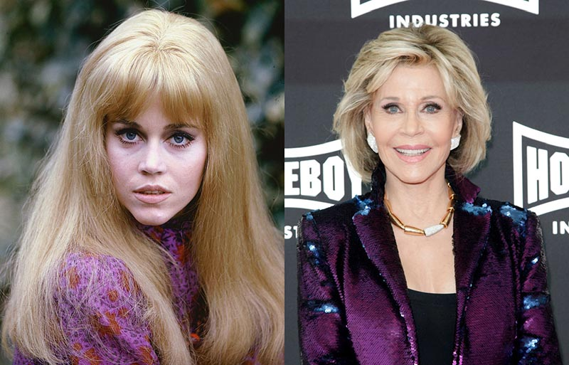 A modeling photo of Jane Fonda is next to a recent photo taken of her at an event.