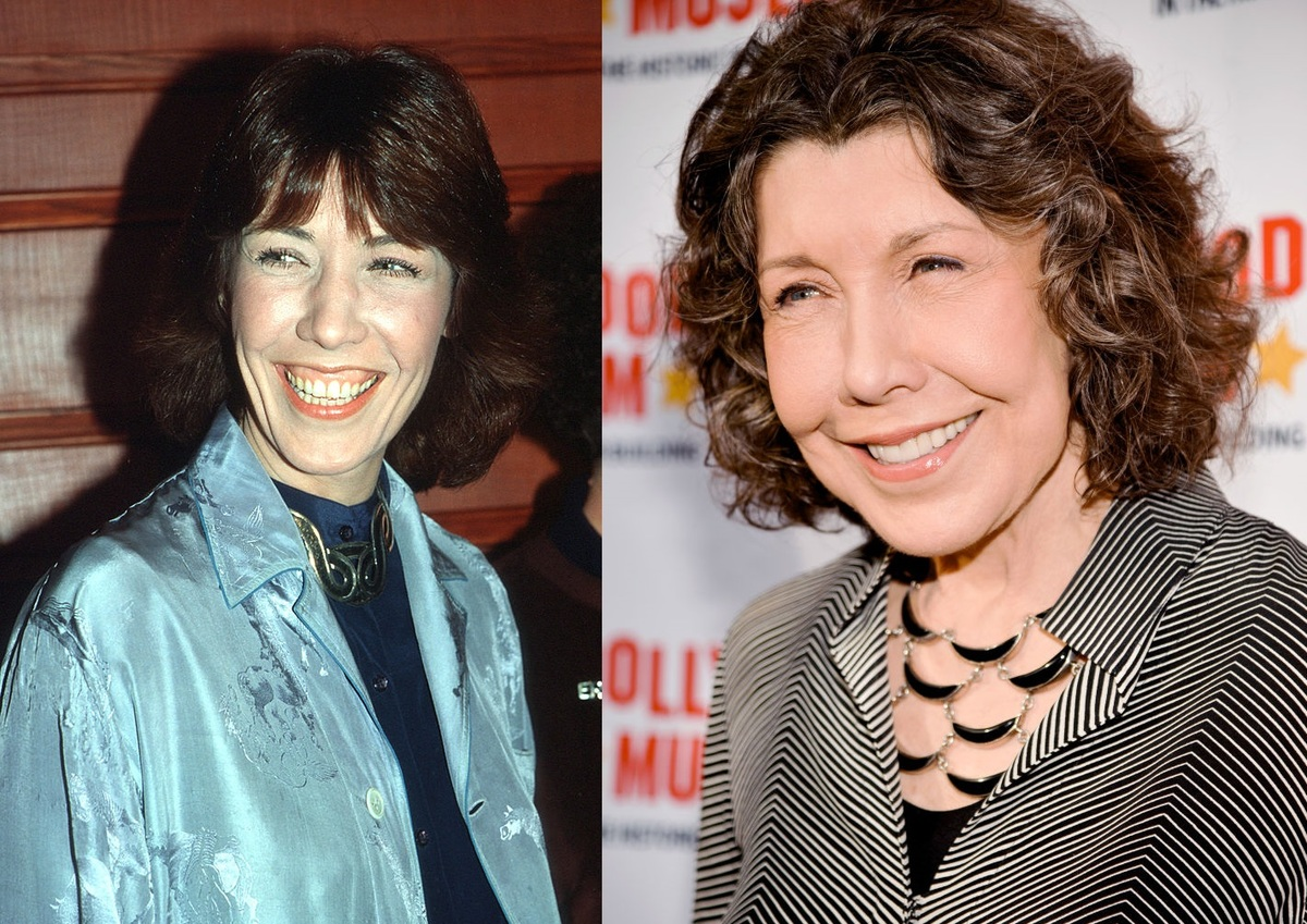 Lily Tomlin has the same bright smile in the 1970s and today.